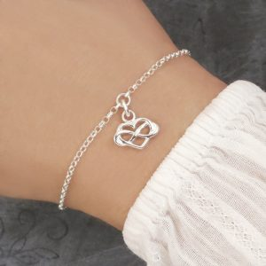 infinity heart bracelet sterling silver adjustable swj203