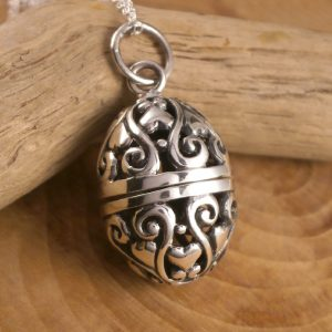 egg locket pendant sterling silver swj121