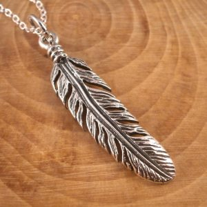 large feather necklace sterling silver swj 131