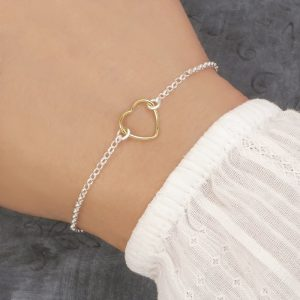silver and gold heart bracelet swj216
