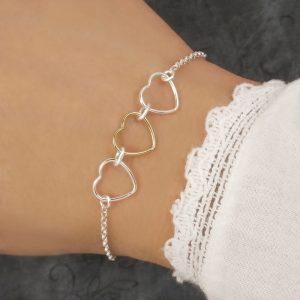 silver and gold triple heart bracelet swj219
