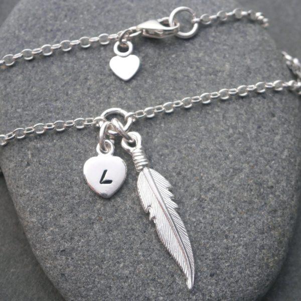 silver angel feather bracelet swj125 3