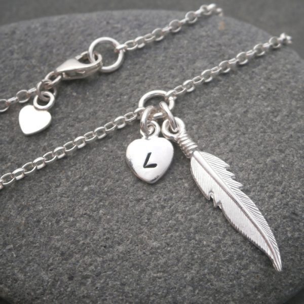 silver angel feather bracelet swj125