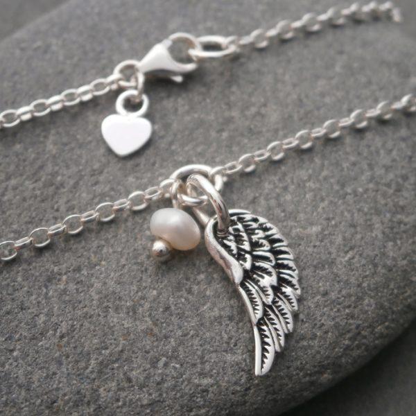 silver angel wing bracelet swj122 2