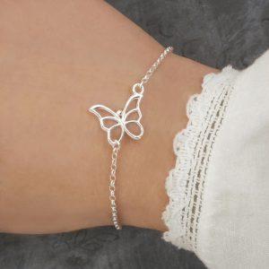 silver butterfly bracelet swj136 1
