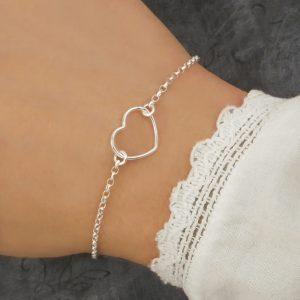 silver heart bracelet swj138
