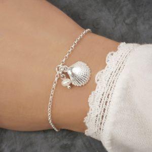 silver shell bracelet scallop shell swj263