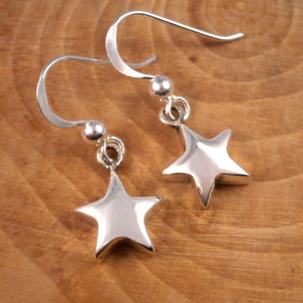 silver star drop earrings swj133 2