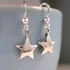 silver star drop earrings swj133