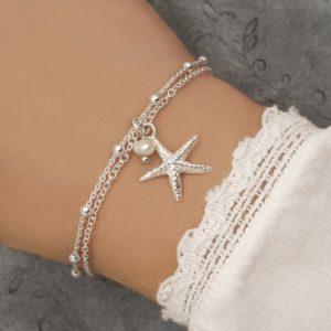 silver starfish bracelet silver beach bracelets swj244