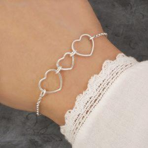 three heart bracelet stering silver swj124 1