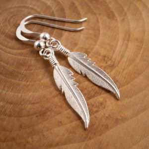 small sterling silver feather drop earrings swj20