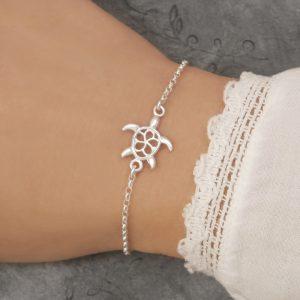 sterling silver turtle bracelet sea turtle braclet small swj247