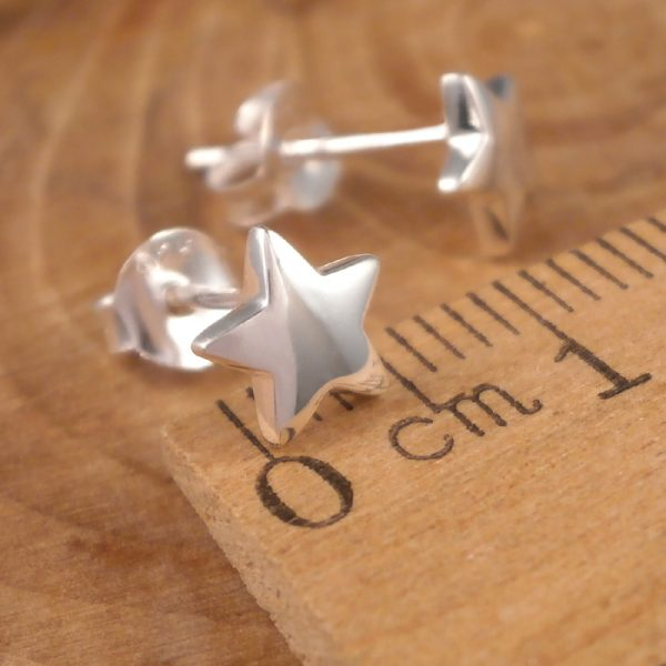 silver star stud earrings 7mm swj89 2