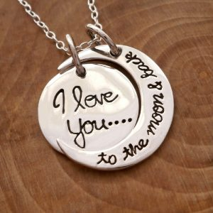 I love you to the moon and back necklace sterling silver swj103