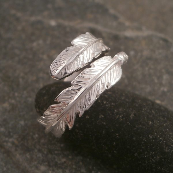 sterling silver adjustable feather ring swj119 2