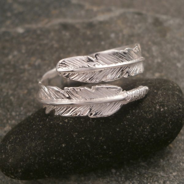 sterling silver adjustable feather ring swj119