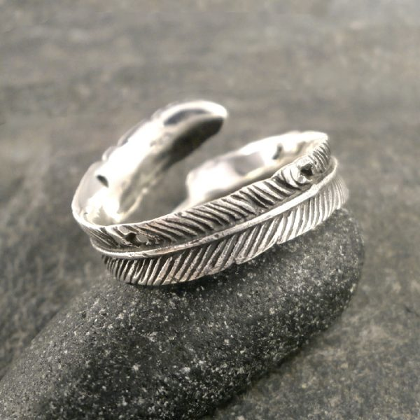sterling silver adjustable plume ring swj120 3