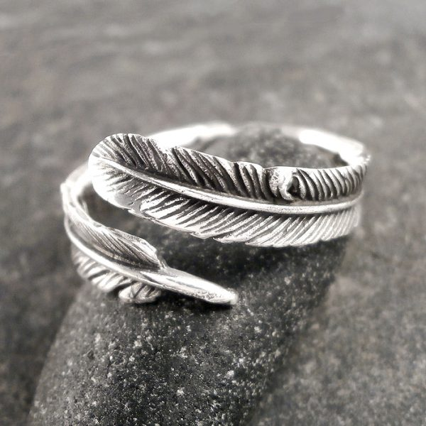 sterling silver adjustable plume ring swj120