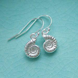 sterling silver ammonite earrings, silver fossil earrings swje102