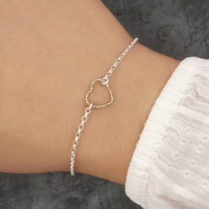 sterling silver and gold heart bracelet swj214