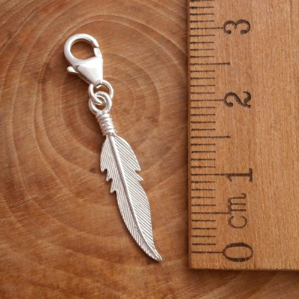 sterling silver angel feather clip on charm swj108 2