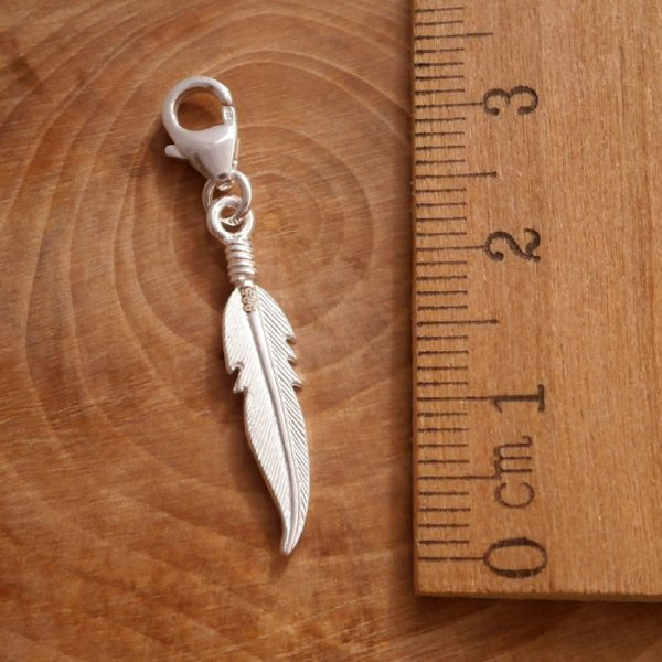 sterling silver angel feather clip on charm swj108 3