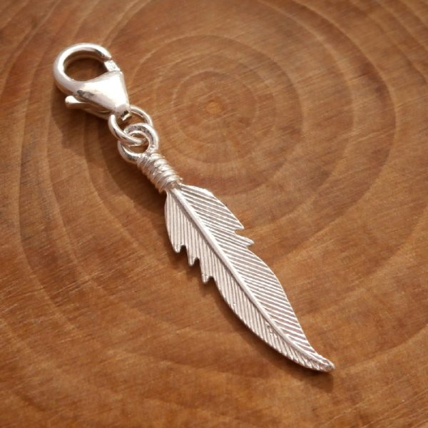 sterling silver angel feather clip on charm swj108