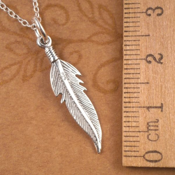 sterling silver angel feather necklace swj45 2