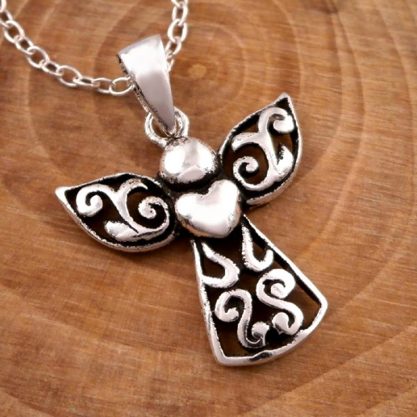 sterling silver guardian angel necklace swj13