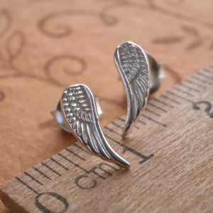 sterling silver angel wing stud earrings swj30