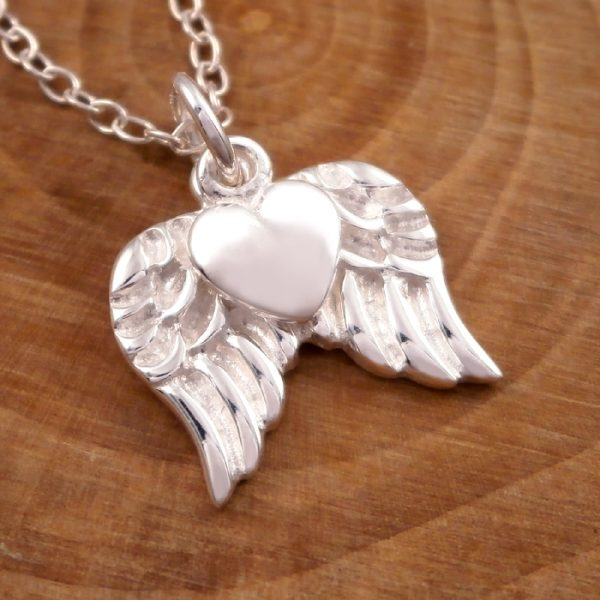 sterling silver angel wings and heart necklace swj15 2