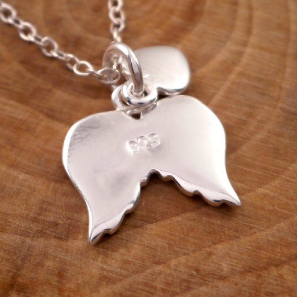 sterling silver angel wings and heart necklace swj15 3