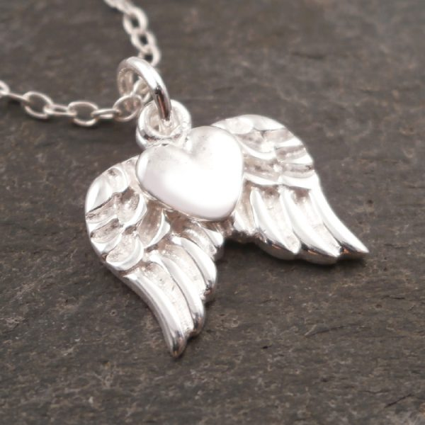 sterling silver angel wings and heart necklace swj15