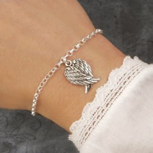 sterling silver angel wings bracelet swj232