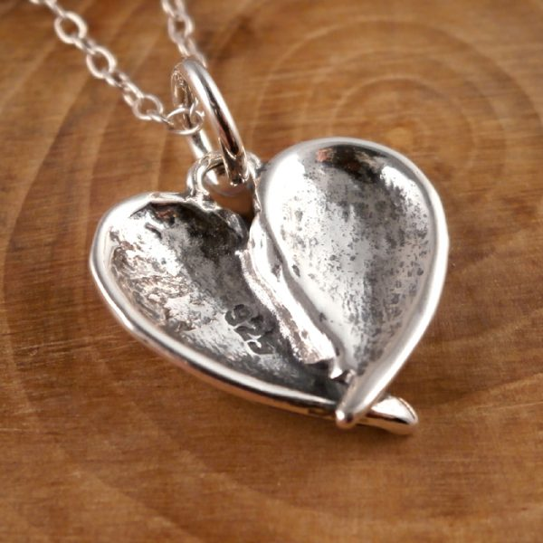 sterling silver angel wings heart necklace swj28 2