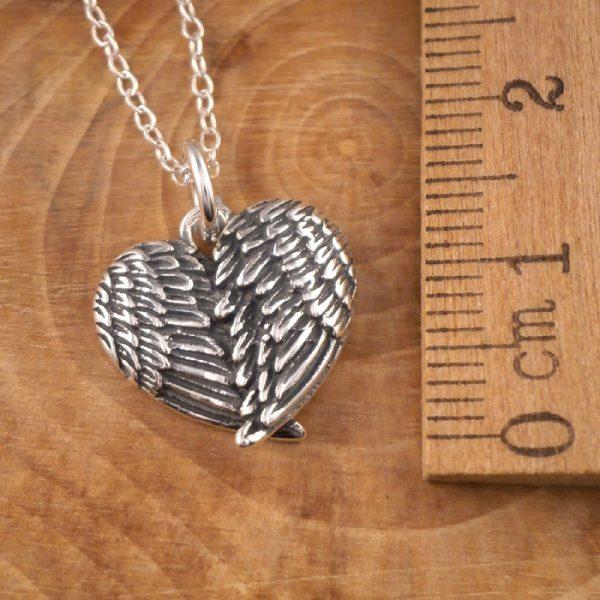 sterling silver angel wings heart necklace swj28 3