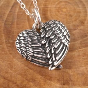 sterling silver angel wings heart necklace swj28