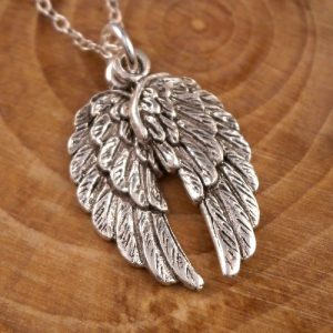 sterling silver angel wings necklace swj66