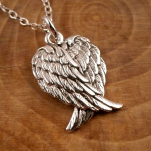 sterling silver angel wings necklace swj83