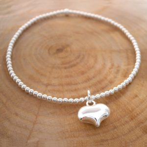 sterling silver beade bracelet with heart charm swj126 2