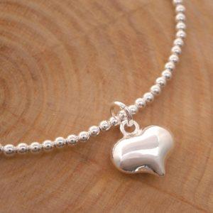 sterling silver bead bracelet heart charm swj126