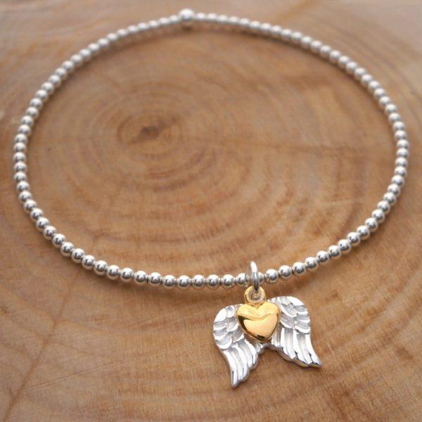 sterling silver beaded bracelet angel wings charm swj127 2