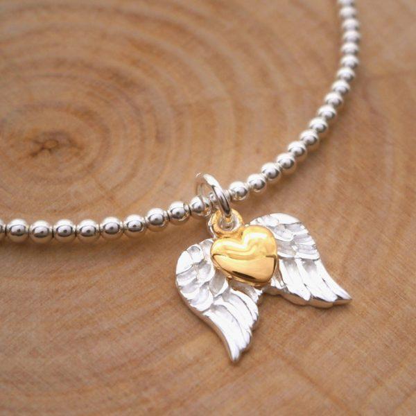 angel wings charm bracelet sterling silver swj127