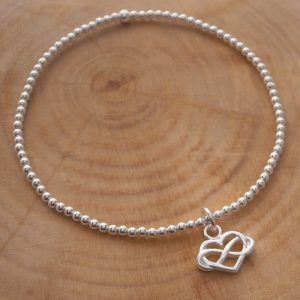 sterling silver beaded bracelet with infinity heart charm swj128 2