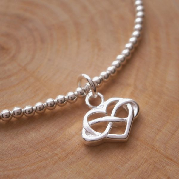 sterling silver beaded bracelet with infinity heart charm swj128