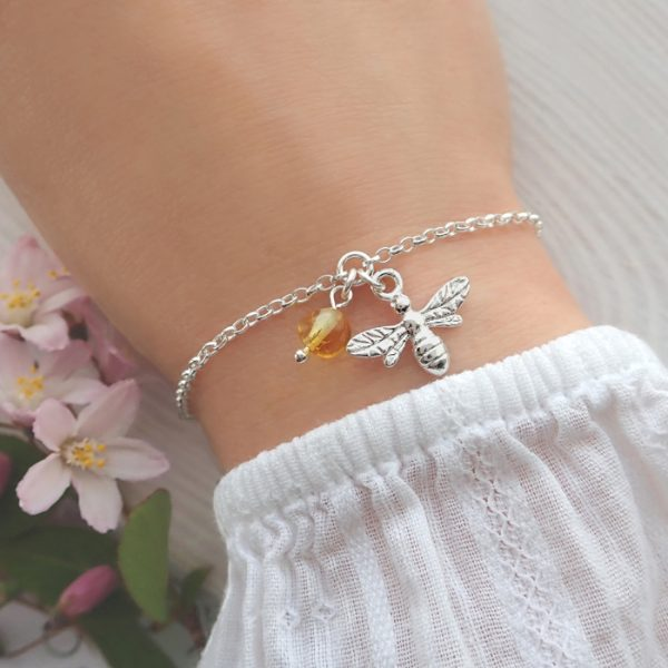 sterling silver bee bracelet with honey amber swj262 2