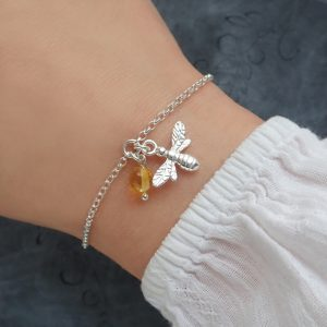 sterling silver bee bracelet with honey amber bumblebee bracelet swj262