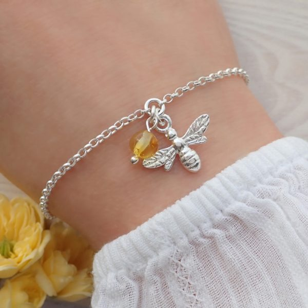 sterling silver bee bracelet with honey amber swj262 4