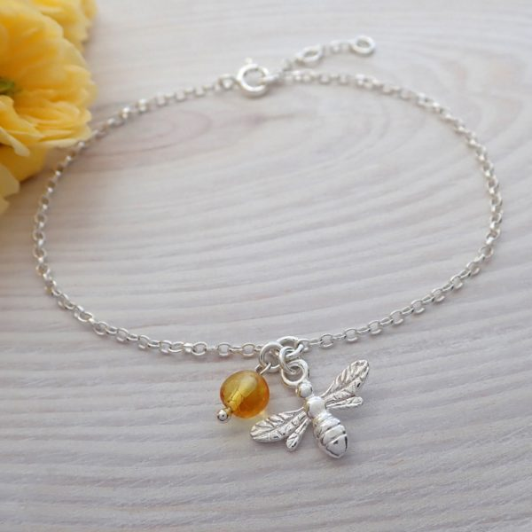 sterling silver bee bracelet with honey amber swj262 5